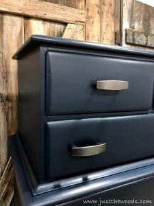 pewter-hardware, navy painted dresser, blue painted dresser, just the woods, blue dresser, painted blue dresser
