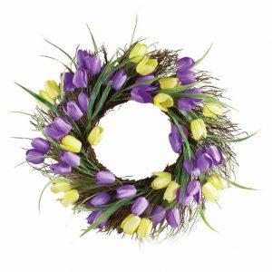 purple-and-yellow-tulip-wreath-door-decor, floral wreath, spring wreaths, staten island