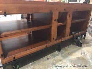remove-back-panels, Painted Media Console with French Image Transfer