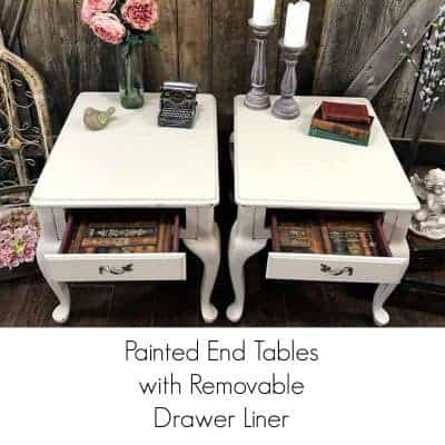 Painted End Tables with Lined Drawers