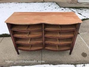 sanded-dresser-top, vintage furniture, new york, painted furniture, how to dal with bleed through