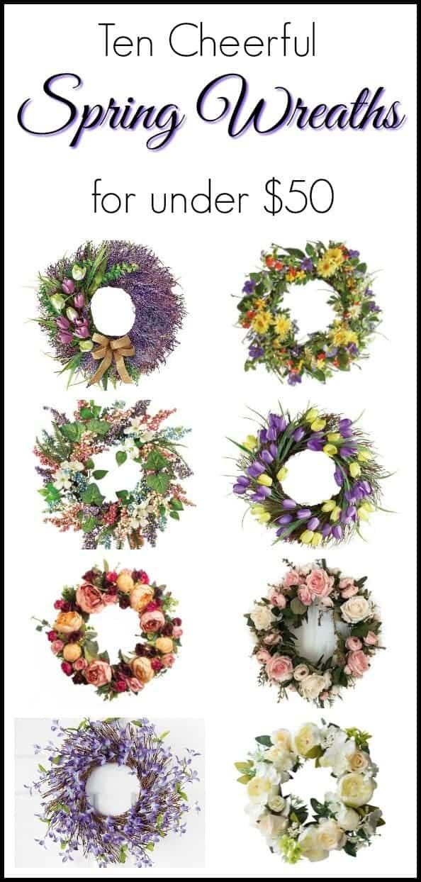 Ten cheerful spring wreaths under $50. There's no reason to break the bank when deciding on door decor for your home. Spring wreaths, spring decor, door decor, door wreaths, wreaths for door, easter wreaths, affordable wreaths, affordable door wreaths.