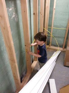 teach-them-young, installing electrical wires, basement renovation