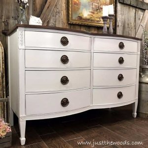 vintage-drexel-dresser-painted-white, bowfront painted dresser, white chalk paint