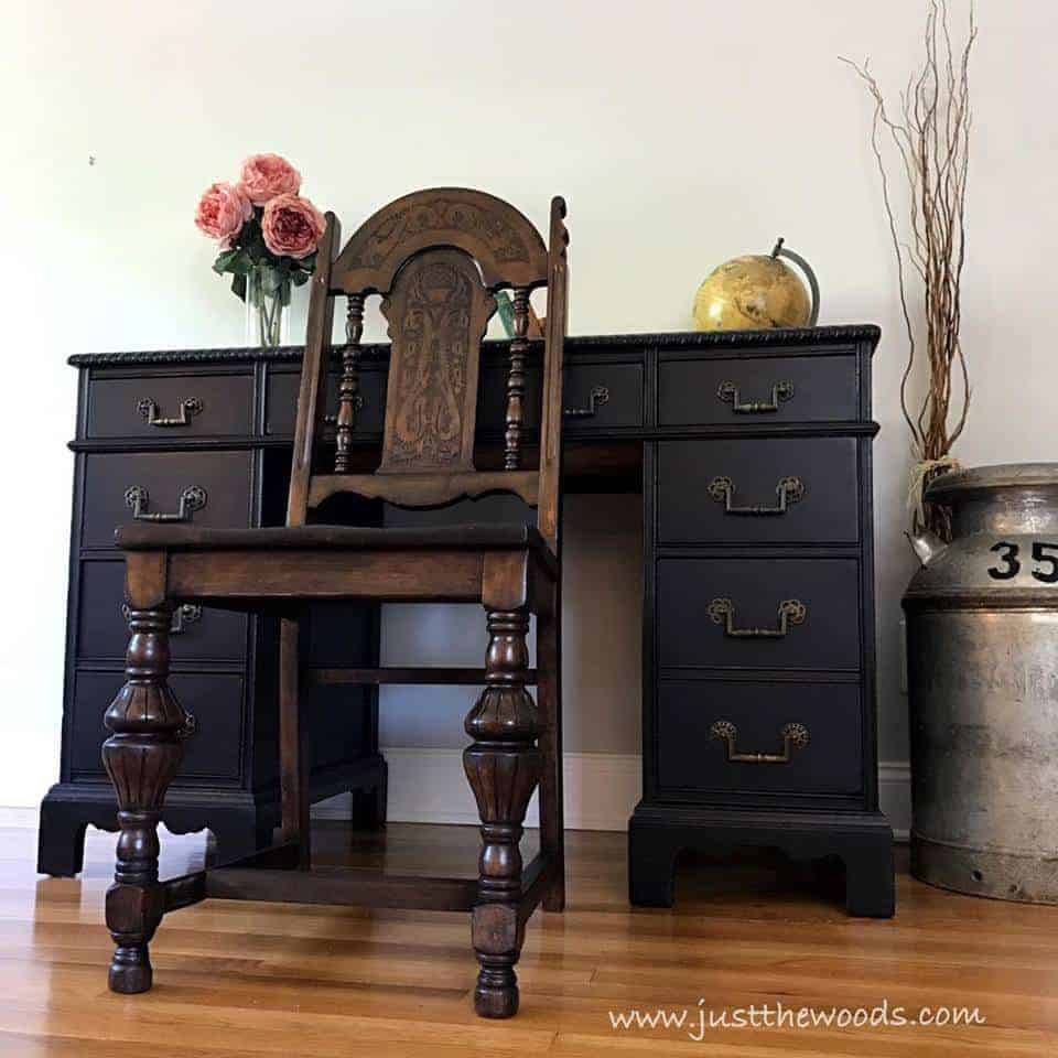 The Best Black Distressed Painted Furniture Makeovers by Just the Woods, jacobean chair, vintage desk, leather inlay