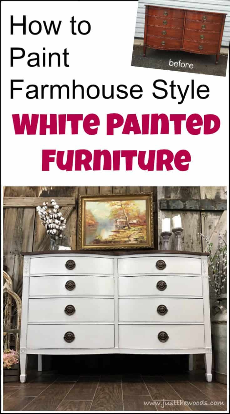 How to get farmhouse white painted furniture when confronted with bleed through issues while painting furniture #farmhousepaintedfurniture #whitepaintedfurniture #painteddresser #distressedpaintedfurniture #distressedpainteddresser #distressedchalkpaint #farmhousepainteddresser #offwhitepaintedfurniture #painteddrexelfurniture #painteddrexeldresser #whitepainteddresser