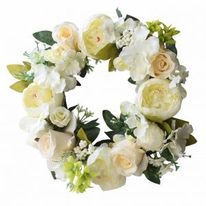 white-rose-spring-door-decor, spring wreaths, floral wreath, spring door