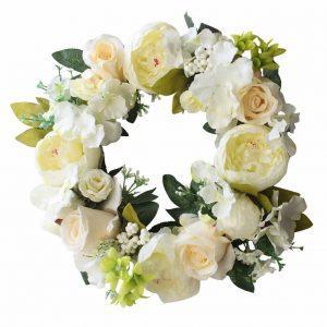 white-rose-spring-door-decor, spring wreaths, floral wreath, spring door