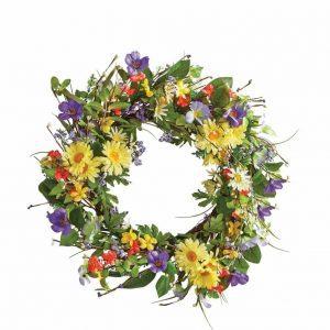 wild-daisy-floral-twig-wreath, spring wreath, door decor, floral wreath