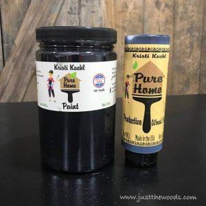 black-chalk-paint-and-sealer, black paint, chalk paint, pure home paint
