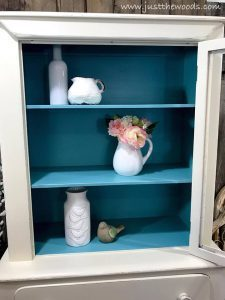 blue-inside-painted-cupboard, shabby chic cabinet, painted cabinet, white and blue
