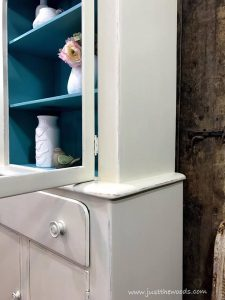 cream-and-blue-painted-cabinet, chalk paint, pure home paint, shabby chic
