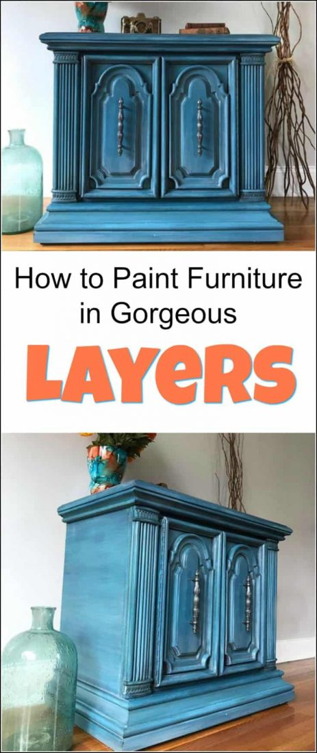 Goodwill accent table gets a makeover. See how to paint furniture with layers on this ornate vintage cabinet in shades of blue. #paintedfurnitureideas #paintedfurnituretechniques #layeringpaintonfurniture howtopaintlayers #furniturepaintingtechniques #bluepaintedfurniture #lightbluepaintedfurniture
