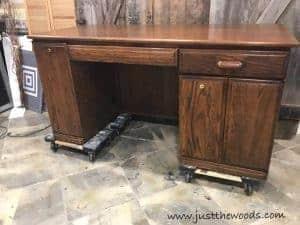 large-desk, computer desk, painted desk, desk makeover, just the woods