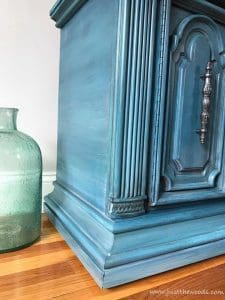 layered-chalk-paint, blue and gray painted furniture, silver hardware, new york