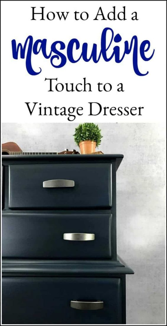 Add a masculine touch to an old vintage dresser with paint. A painted navy blue dresser is the perfect masculine painted furniture makeover. #paintedfurniture #bluepaintedfurniture #bluedresser #bluepainteddresser #navybluedresser #bluepaintedfurniture #darkbluepaintedfurniture #bluepaintedfurnitureideas