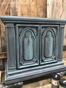 memphis-blue-layered-paint, how to layer paint on furniture