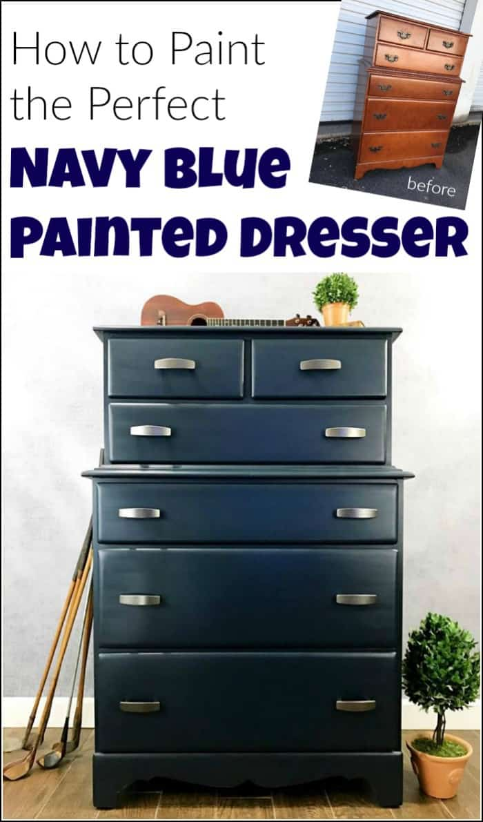 Add A Masculine Touch To An Old Vintage Dresser With Paint. A Painted Navy  Blue