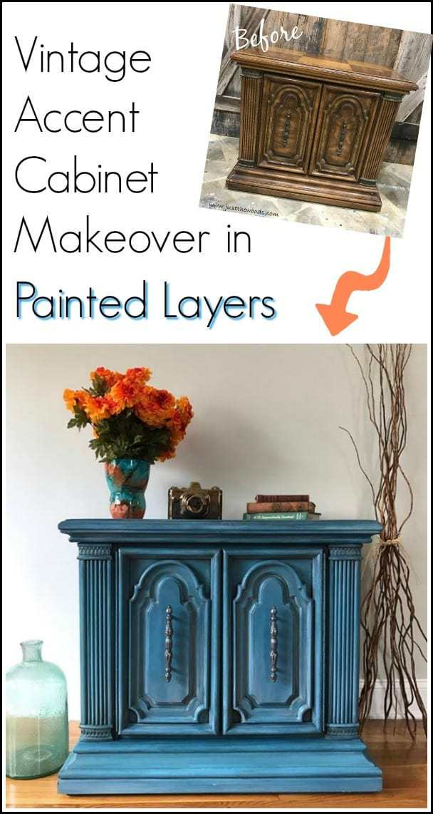 Goodwill accent table gets a makeover. See how to paint furniture with layers on this ornate vintage cabinet in shades of blue. | painted furniture ideas | painted furniture techniques | layering paint on furniture | how to paint layers | furniture painting techniques | blue painted furniture