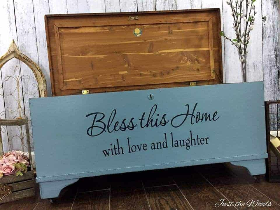 reverse stencil, stencil in painted chest, painted cedar chest