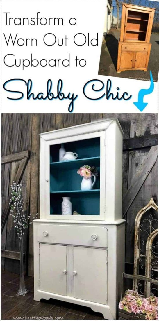 A vintage cupboard with damage and grease has been cleaning up and transformed into a painted shabby chic cabinet with a pop of color inside. Off white, distressed and tiffany blue give this old piece of furniture a whole new look. |shabby chic furniture | painted shabby chic cabinet | shabby chic painted furniture |