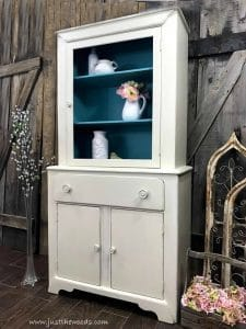 tall-painted-cream-cupboard, shabby chic cupboard, painted cabinet, blue inside