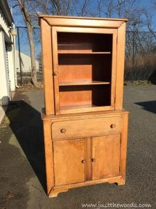 vintage-cupboard, painted furniture, vintage furniture, oak colored vintage cupboard