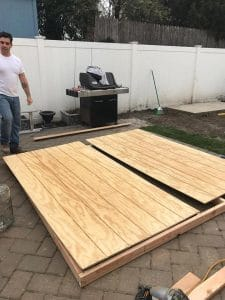 adding-walls-to-frame, t111 panels, shed walls, build a shed