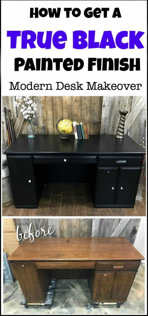 Painting your furniture gives you the look that you want for less the cost. This painted desk makeover went from dated to modern in a true black finish with no distressing. modern desk makeover in matte black chalk type paint. painted furniture, black painted furniture, painted desk, furniture makeover, painted furniture before and after, black chalk paint