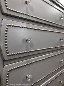 bling-dresser, nailhead trim on drawers, upholstery tacks, just the woods