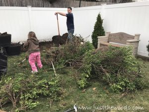 cut-out-yard-bushes, garden with kids