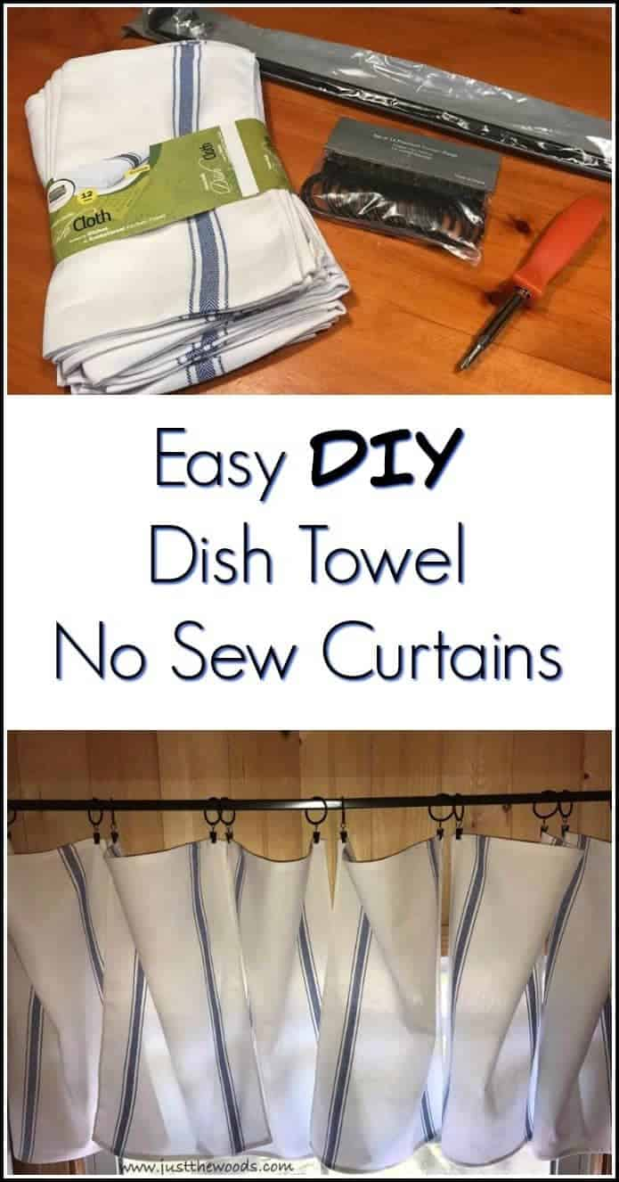 diy curtains, no sew curtains, dish towel curtains