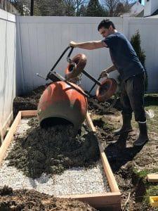dump-concrete, build a shed floor