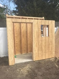front-wall-of-shed, how to add walls to a shed, building a shed from scratch