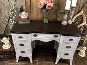 gray-desk-with-stain-top, furniture staging, staged furniture