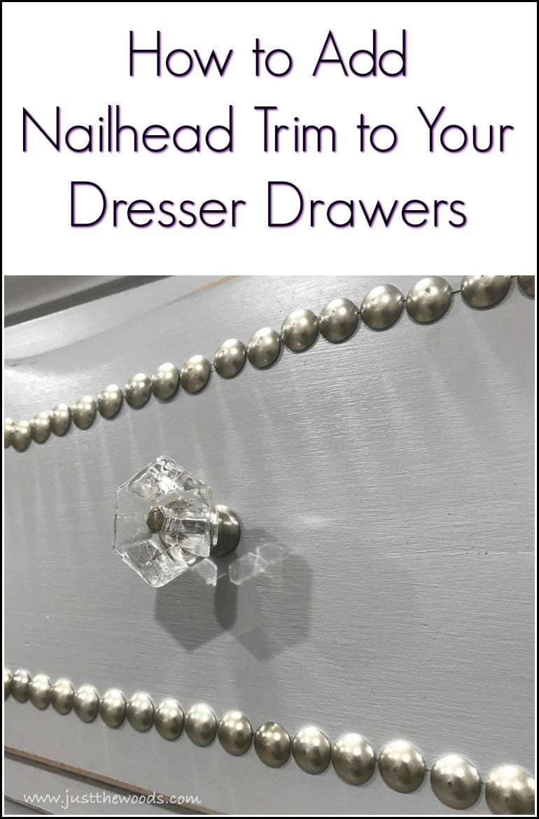 Add upholstery tacks to painted furniture for decorative nail head trim. See how to create a decorative trim using upholstery tacks on this painted dresser with clear crystal knobs.