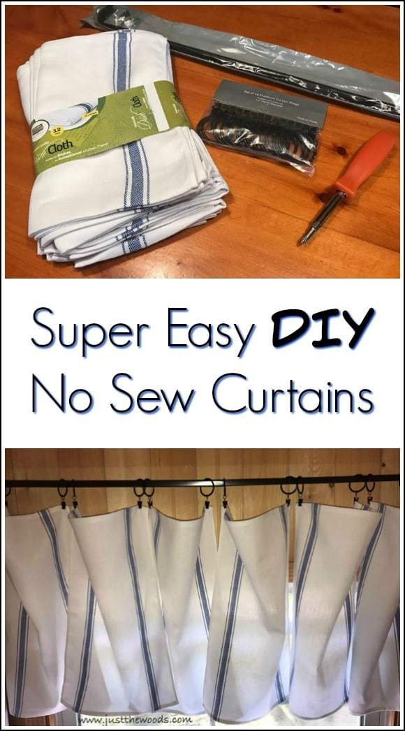 no sew curtains, diy curtains, kitchen towel curtains