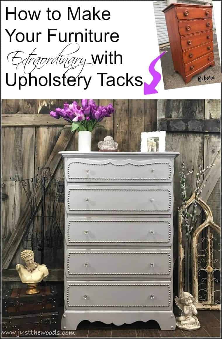 how-to-update-furniture-with-upholstery-tacks Add upholstery tacks to painted furniture for decorative nailhead trim. See how to create a decorative trim using decorative upholstery tacks on this painted dresser with clear crystal knobs. Vintage dresser makeover with nailhead trim. Add upholstery tacks to painted furniture drawers for an added upscale look. #upholsterytacks #paintedfurniture #decorativeupholsterytacks #nailheaddresser #furnituremakeover #embellishfurniture
