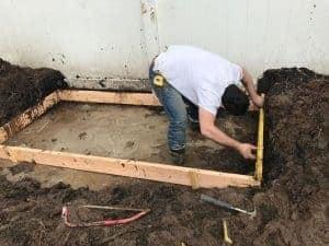level-the-frame, pour concrete in the rain