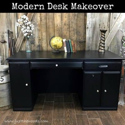 Modern Desk Makeover Painted True Black