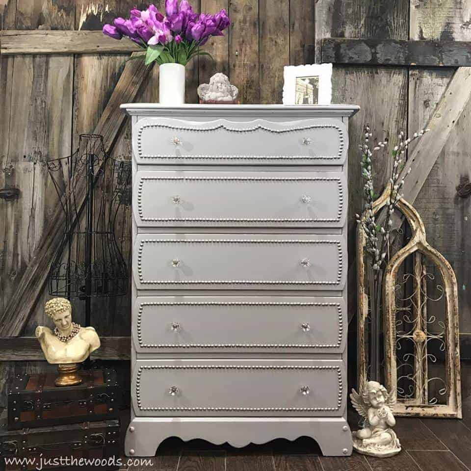 painted dresser ideas, gray painted dresser, nailhead dresser, painted dresser with nailhead trim