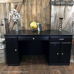 painted-furniture-nyc, painted desk, black desk, desk makeover