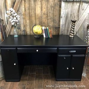 painted-furniture-staten-island, desk makeover, painted desk, black modern desk