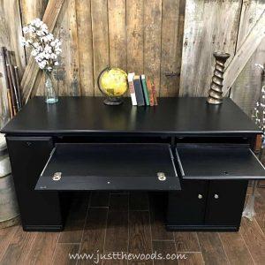 painted-keyboard-drawer, painted desk, desk makeover, wood desk