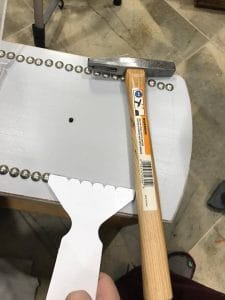 upholstery-hammer-and-spacer, nail heads, upholstery tacks, nailheads
