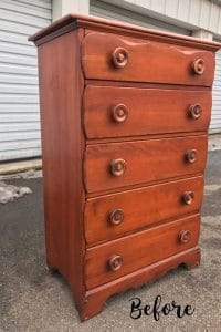 vintage-maple-chest-of-drawers, vintage dresser with oversized round wooden knobs, maple dresser, staten island