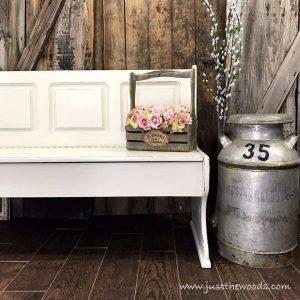 vintage-milk-jug, staging furniture, painted bench, just the woods