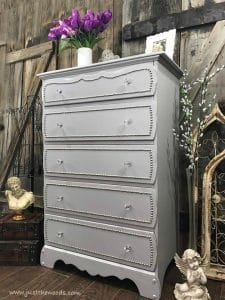 vintage-painted-dresser, nailhead dresser, silver studs, staten island, new york, painted furniture