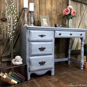 vintage-painted-gray-desk, pillar candles, staging furniture, painted desk