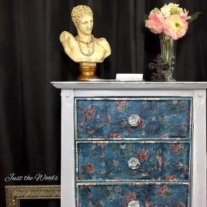 weathered-lingerie-chest-with-decoupage, bust of david, bust statue
